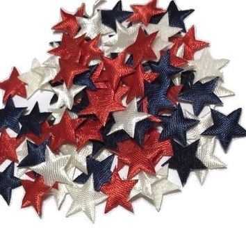 "Red, white & blue satin stars 5/8"" padded appliqué"