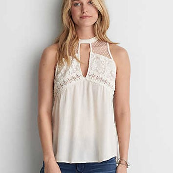 AEO Lace Mix Shell Top , Chalk