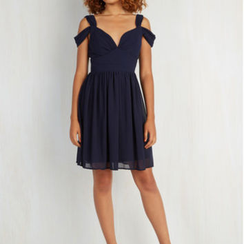 Mid-length Sleeveless A-line Bonne Jovial Dress in Navy