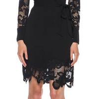 Diane Von Furstenberg DVF Black Ernestina Lace Trim Dress