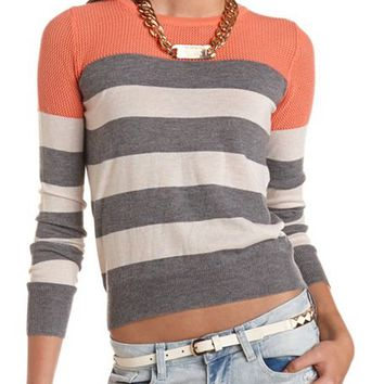 Mesh-Top Striped Sweater: Charlotte Russe