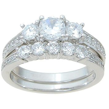 2.50ct Antique Vintage Style Cz Wedding Ring Set Sterling Silver