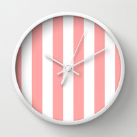 Coral Pink Stripe Vertical Wall Clock by BeautifulHomes   Society6