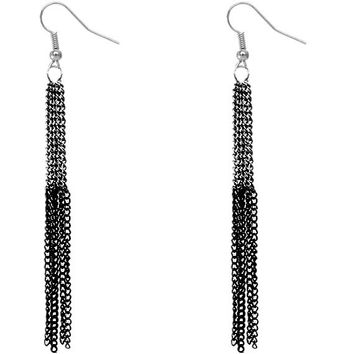 Hematite Black Extra Long Chain Earrings