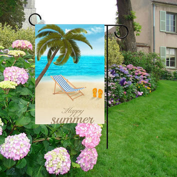 Palm Tree Beach Happy Summer Garden Flag | Flamingo Garden Flag | Parrot Garden Flag | Sunflower Garden Flag