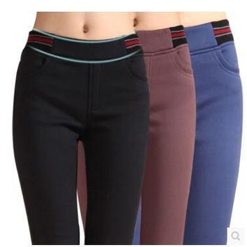 Sale!2016 New women office work pants High stretch cotton ladies pencil pants black blue red female High Waist trousers add wool