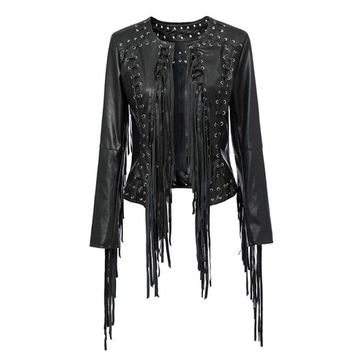 Punk PU Faux Leather Split Metal Cuffs Eyelets Lace Up Tassel Fringe Street Bloggers Women Motorcycle Short Jacket Outerwear
