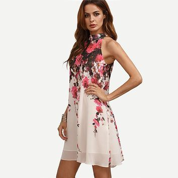 Casual New Arrival Multicolor Round Neck Floral Cut Out Sleeveless Shift Dress