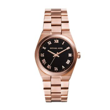 *WOW* $250 NWT AUTH MICHAEL KORS ROSE GOLD BLACK FACE WATCH
