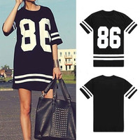 Womens Celeb Oversized 86 American Baseball Tee T-shirt Top Varsity Loose = 1931887556