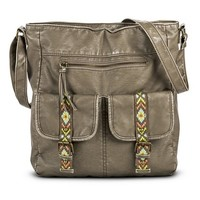 Women's Aztec Deatil Pocket Tote Handbag - Taupe