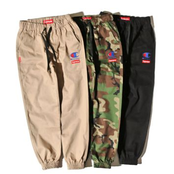 Champion & Supreme new fashion embroidery camouflage pants