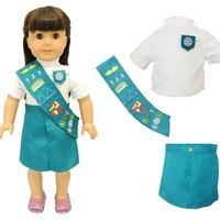 "Doll Clothes Fits American Girl 18"" Inch Outfit Junior Girl Scout Uniform"