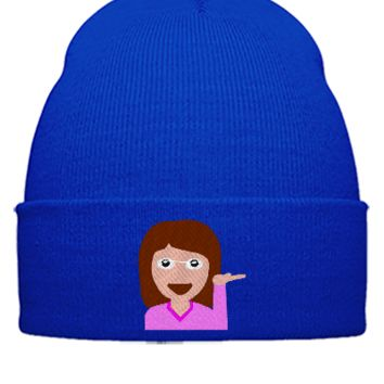 emoji girl hand left png Bucket Hat - Beanie Cuffed Knit Cap
