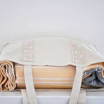 Cotton Tote Bag with Lace Handmade Organic  by ecofriendlybeauty