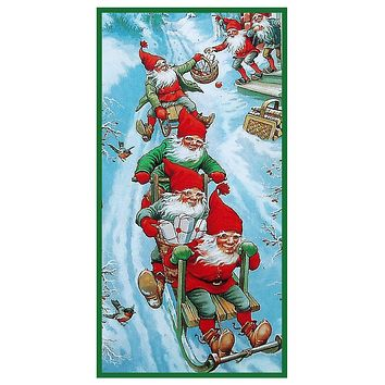 Elves Gnomes Sledding Jenny Nystrom Holiday Christmas Counted Cross Stitch Pattern