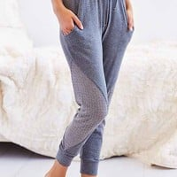 LNA Lewis Textured Inset Sweatpant- Grey