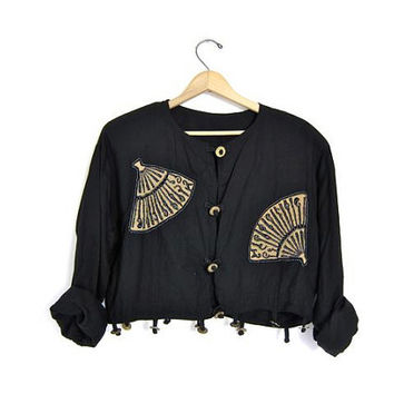 vintage cropped jacket. Native wear beaded black button up rayon jacket. coin buttons tribal boho shirt jacket. womens medium