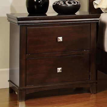 Pebble Transitional Nightstand, Brown Cherry Finish