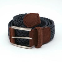 Anderson's : Woven Textile Belt (Navy) from Oi Polloi
