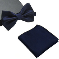 Mens Matching Navy Blue Bow Tie and Handkerchief Gift Set