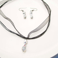 Black Ribbon Necklace Choker With Glass Bead Pendant and Matching Earrings