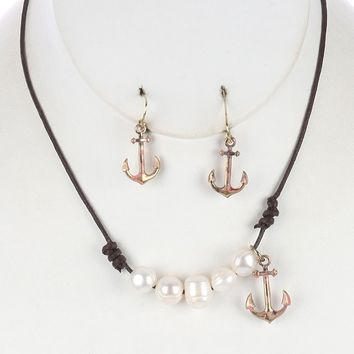 Anchor Charm Pearl Bib Knotted Cord Aged Finish  Necklace Earring Set