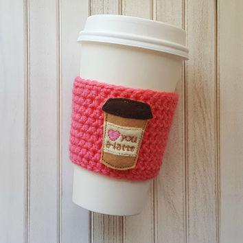 Latte Cozy - Coffee Cozy - Travel Mug - Coffee Sleeve -  Birthday Gift - Coworker Gift - Personalized Coffee Cup - Nurses Week - Iced Coffee
