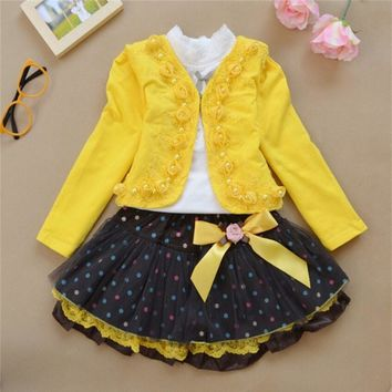 The new year the girl's dress 2016 fashion Rose Princess Dress three piece style autumn winter children 3-10 year old girl