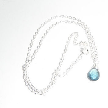 London Blue Topaz Briolette Pendant Necklace Silver Wrapped Gift fashion under 30