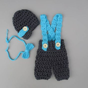 Baby Boy Charcoal Turquoise Overalls Set Newborn Photo