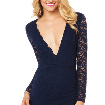 Sweet Acacia Midnight Lace Dress in Navy
