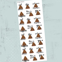 Poop emoji Stickers, Planner Stickers, Inspirational Stickers, Kawaii Stickers, Decorative Stickers, Cute Stickers, Adult Stickers (#0209)