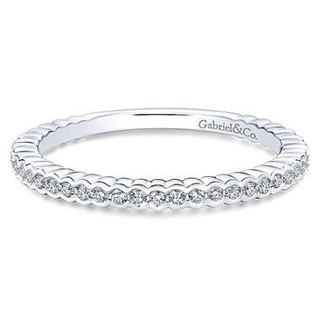 14K White Gold Diamond Stackable Ring with Half Bezel Design