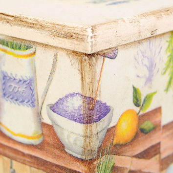 Box handmade for tea container for cereals pot of spice kitchen decor decoupage