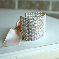 Rhinestone Cuff Bracelets with Blush Pink by fourhandsNYC on Etsy