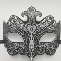 Sexy Venetian Princess Black Metal Laser Cut Masquerade Mask With Rhinestones