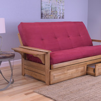 Rosemount Full Size Futon & Drawer Set, Oak Wood, Red Suede Innerspring Mattress
