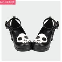 New Arrivals Devil Skull Gothic Punk Lolita Cosplay Block Heel Round Toe Shoes for Women BLACK