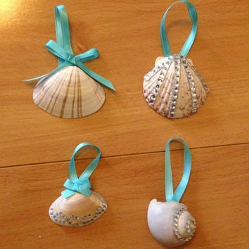Bedazzled Seashell Ornaments - 4 Shells