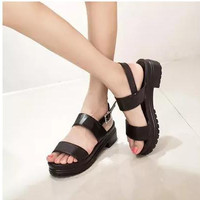 Open Toe 2015 Caged Summer Women Shoes Black Leather Peep Toe Flat Platform High Heel Gladiator Sandals Boots Chunky Thick Heel