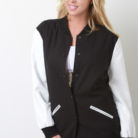 Two-Tone Button-Up Vegan Leather Sleeve Jacket