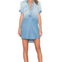 MONROW Henley Pocket Mini Dress in Denim Wash