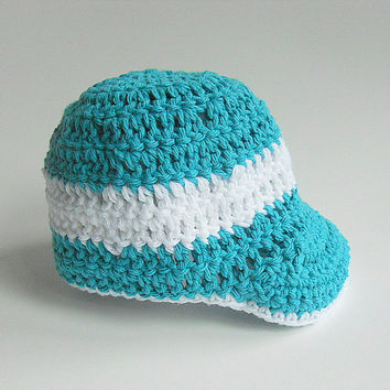 Aqua Baseball Baby Hat Baby Boy Turquoise  Cap 6 - 12 Months Infant Girl Teal Summer  Clothing Crochet Spring