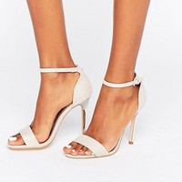 True Decadence Pink Glitter Barely There Heeled Sandals at asos.com