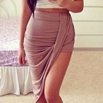 Taupe Ruched Twisted Draped  Asymmetric High Low Hem Mini Maxi Skirt - Back in Stock!