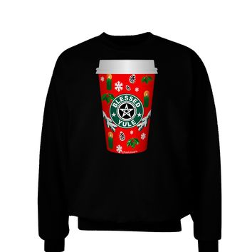 Blessed Yule Red Coffee Cup Adult Dark Sweatshirt by