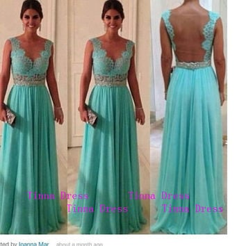 Lace Long Prom dress, tiffany blue prom dresses, long bridesmaid dress