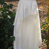 Vintage wedding dress ivory satin embroidery cap sleeve lace romantic small by vintage opulence on Etsy