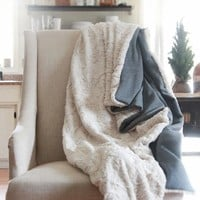 Faux Fur White Throw Blanket